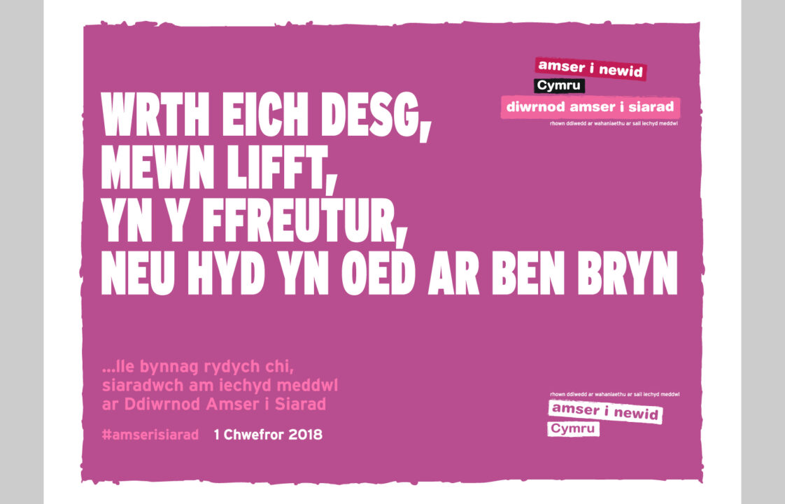 Graphic design of welsh poster - Time to talk day 2018