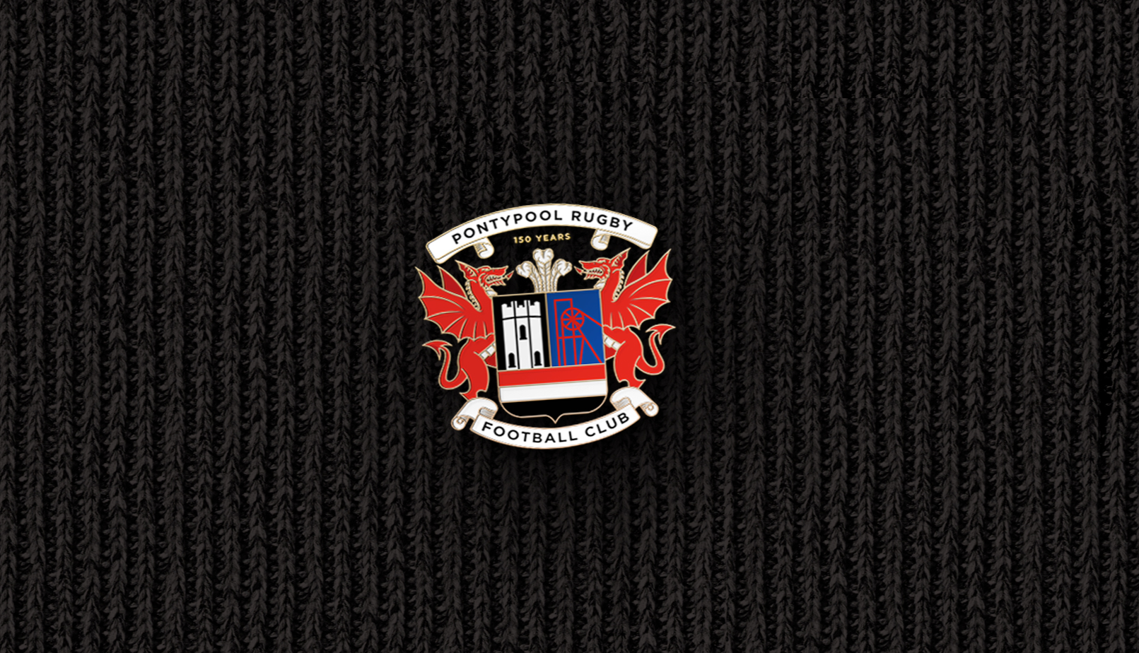 Pontypool RFC 150 Year logo design on a pin badge