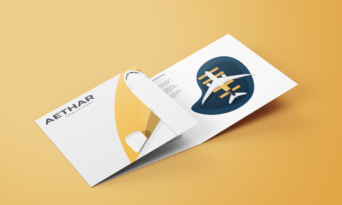 Airline branding safety card - Ben Ballantyne